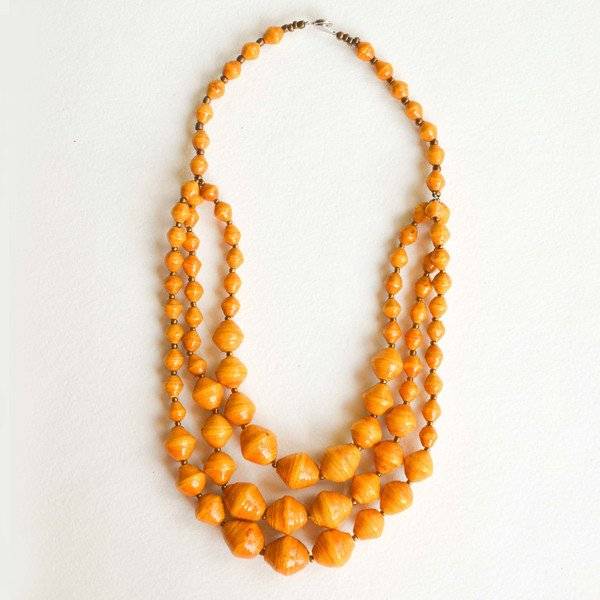 Mirembe necklace in tangerine by Fashion and Compassion