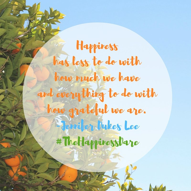 Happiness and gratefulness quote by Jennifer Dukes Lee image by Katie M. Reid