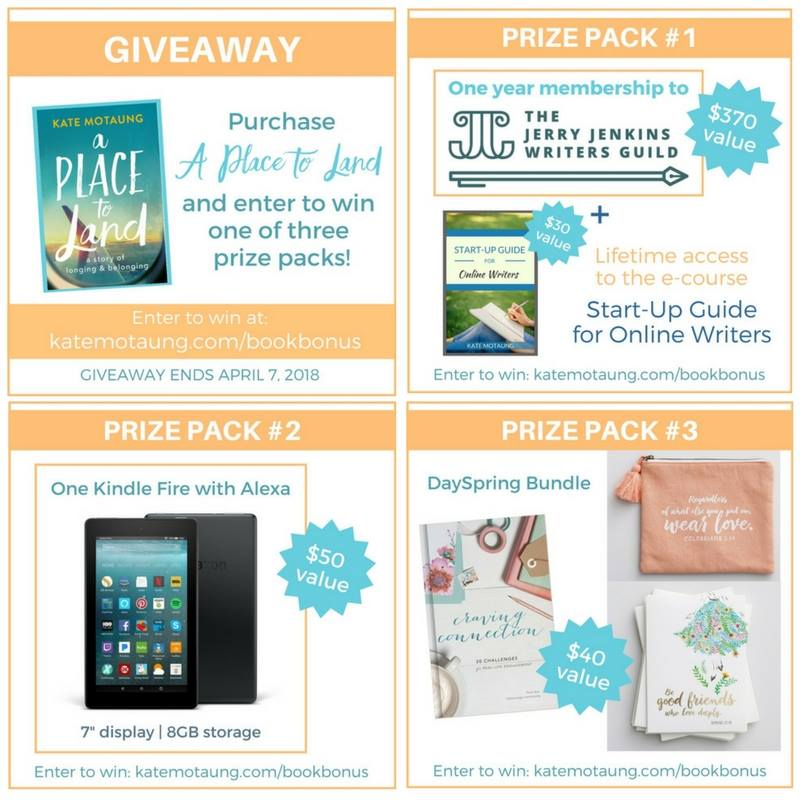 Kate Motaung's book A Place to Land Prize Packs giveaway