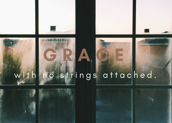 Grace with no strings attached window quote by Katie M. Reid from Made Like Martha book
