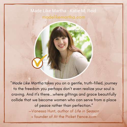 Vanessa Hunt from At the Picket Fence endorsement for Made Like Martha by Katie M. Reid