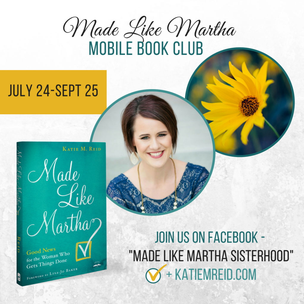 Mobile book club for Made Like Martha by Katie M. Reid published by WaterBrook