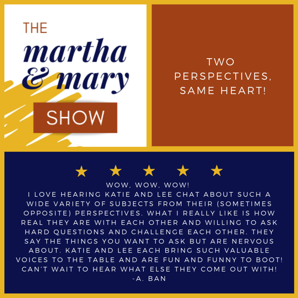 Two perspectives one heart five star review Martha Mary Show podcast