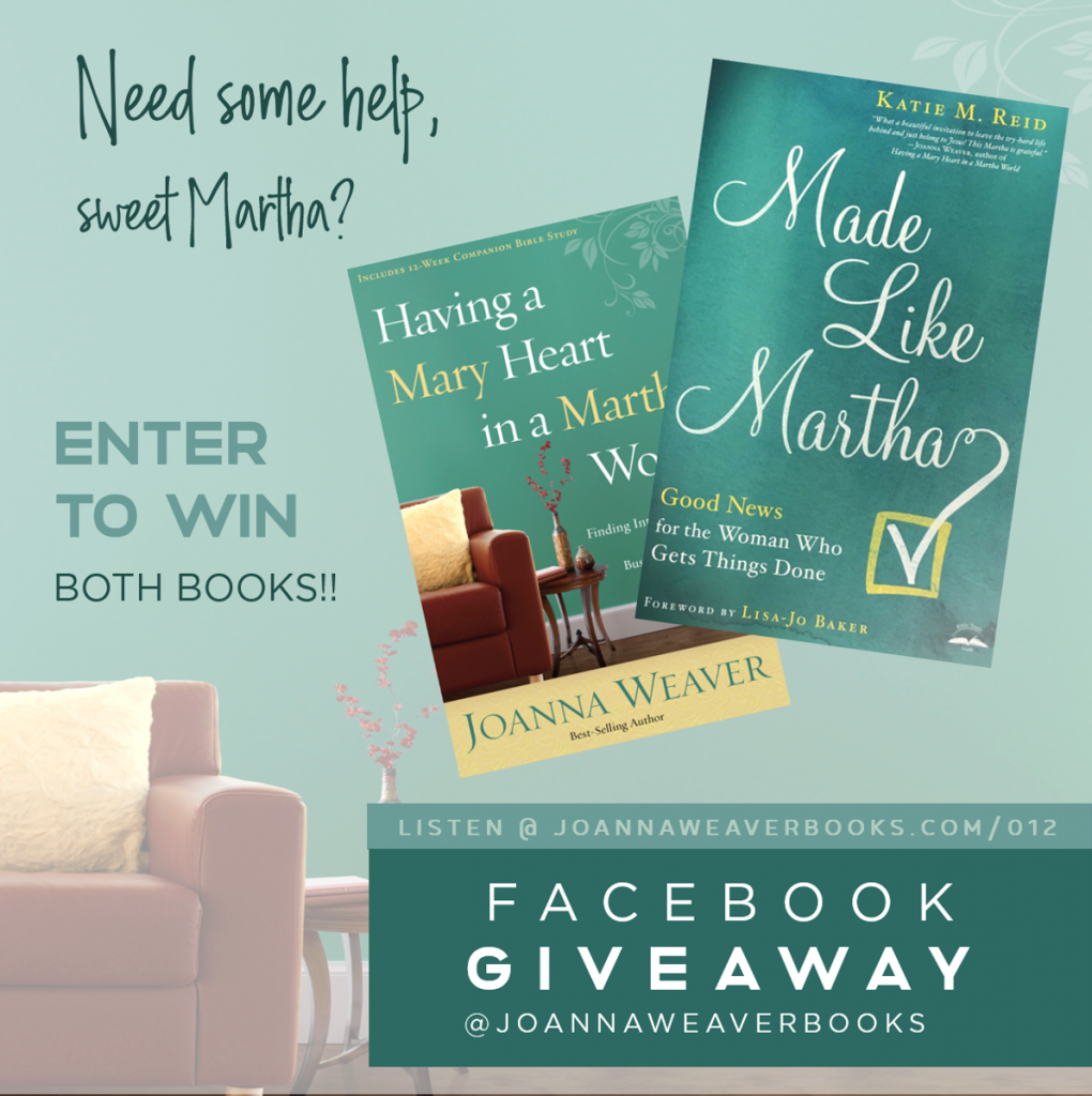 Giveaway with Joanna Weaver Having Mary Heart Martha World Made LIke Martha