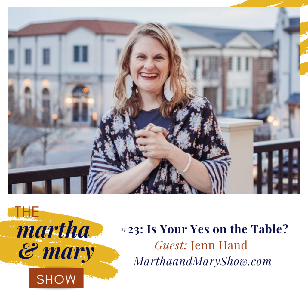 Jenn Hand Coming Alive Ministries Martha Mary Show Yes Table