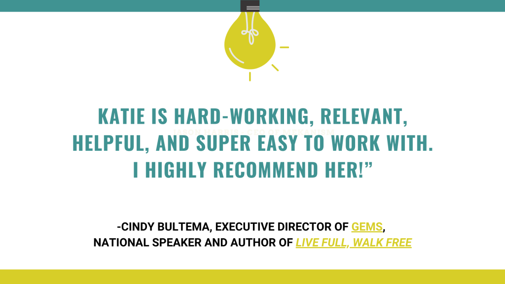 Cindy Bultema endorsement for Katie Reid creative coaching Inspiration Doula