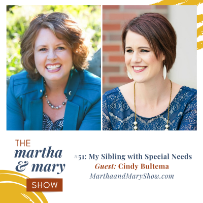 Katie Reid host of Martha Mary Show podcast sibling with special needs Cindy Bultema GEMS guest