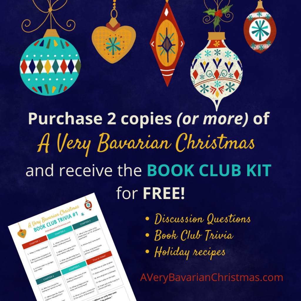 free book club kit for A Very Bavarian Christmas when you purchase two copies or more by Katie M. Reid